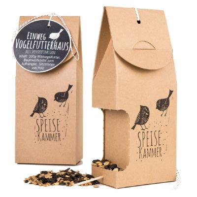 Vogelfutterhaus aus ökologischem Karton mit Logo