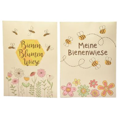 Bienen Blumenwiese Saattüte als Karte individualisierbar mit Logo