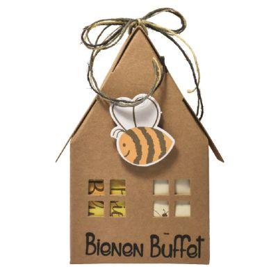 Bienen Buffet - kleines Gartenhaus mit Saattüte und Pummelbiene
