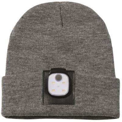 Beanie-Mütze mit abnehmbarer LED-Lampe mit Logodruck