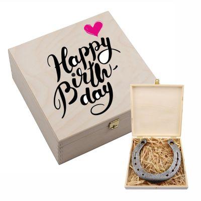"Hufeisenbox ""Happy Birthday"" (pinkes Herz) - mit Gravur"
