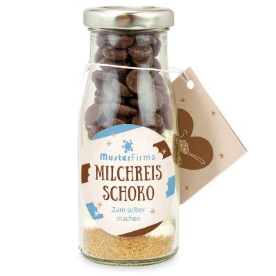 DIY Milchreis mit Schokolade in der Flasche - Etikett individuell gestaltbar
