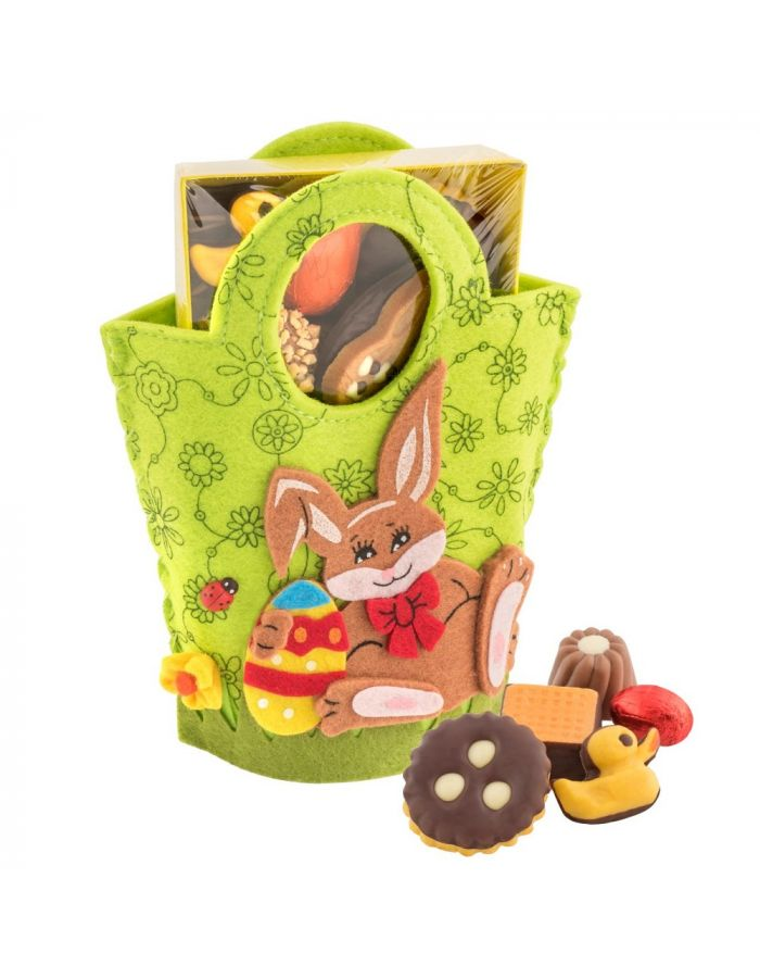 Werbegeschenk Filztasche Hase mit Oster-Gebäckmischung