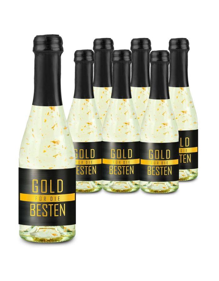 6 x Gold für die Besten 0,2 l Flasche - individuell gestaltbar