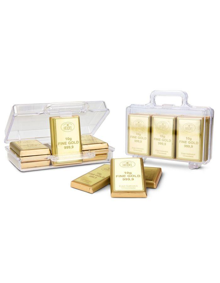 Goldkoffer mit 12 Schoko-Goldbarren - individualisierbar