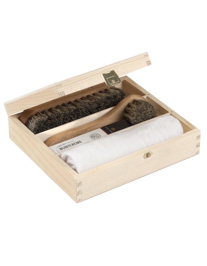 Schuhpflege-Set in der Holzkassette individualisierbar