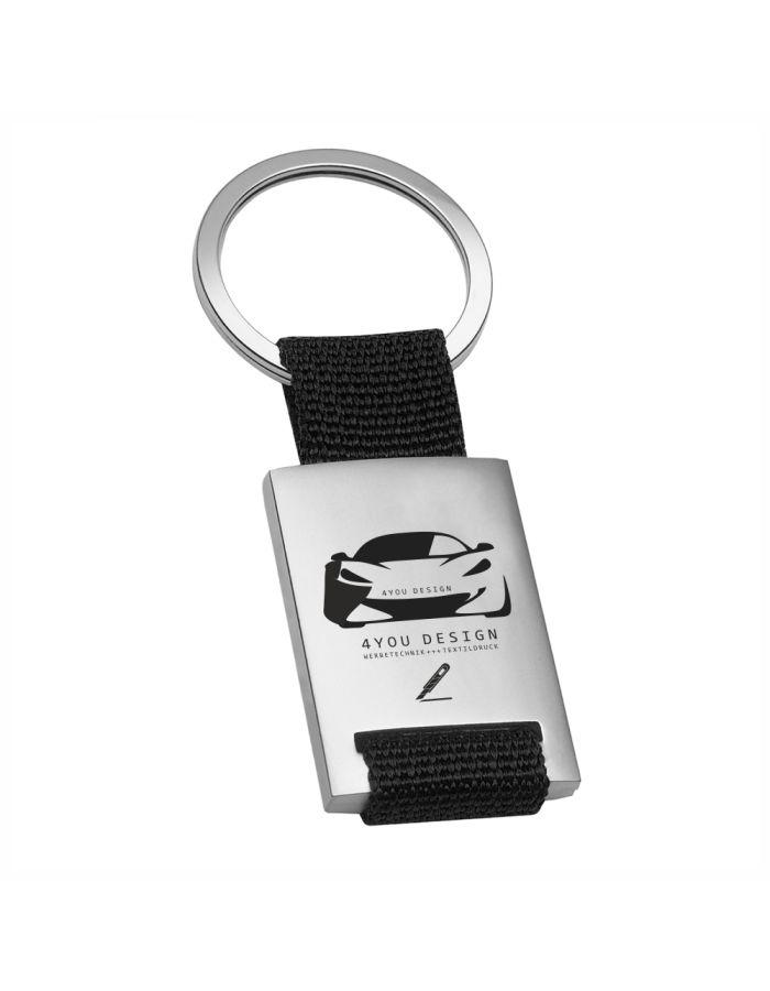 Schlüsselanhänger aus Metall mit Logogravur