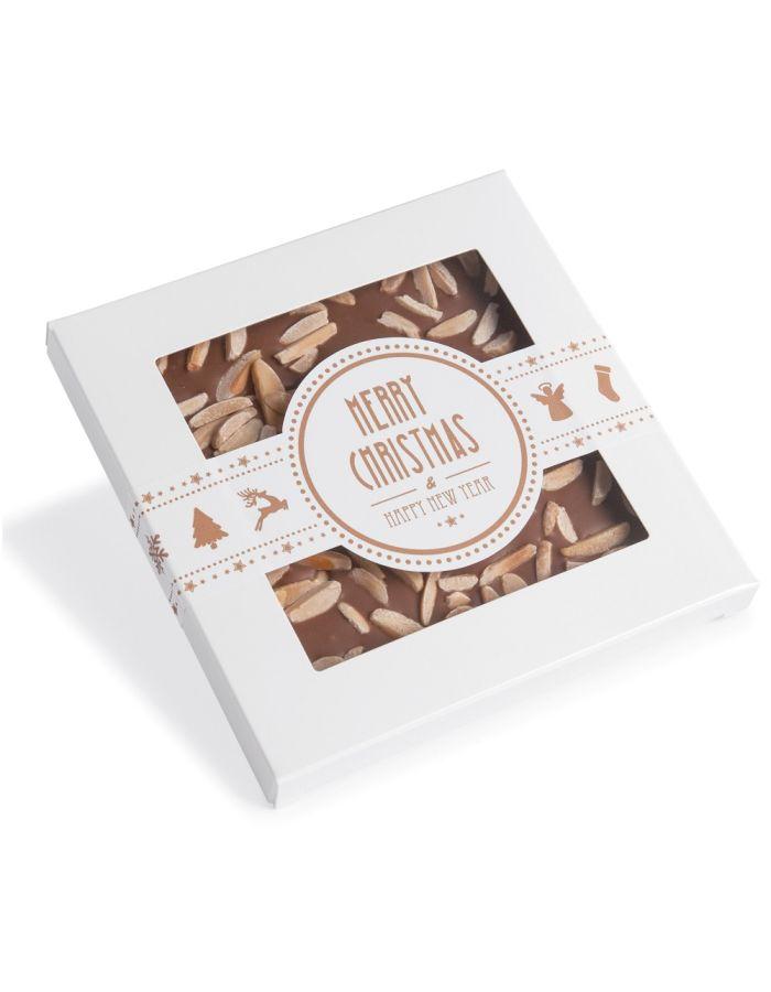 Handgeschöpfte X-mas Schokolade in Kartonage mit Sichtfenster