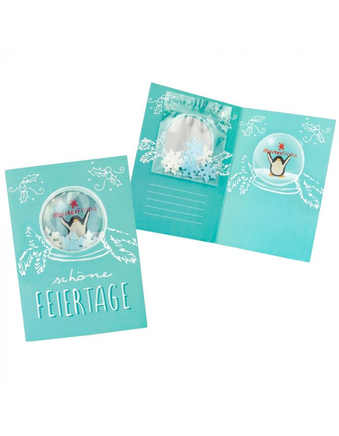 Grußkarte Schneekugel - individuell bedruckbar