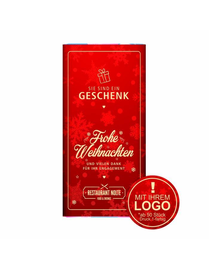 """Schokolade """"Sie sind ein Geschenk"""" - mit Logo (rote Serie)"""
