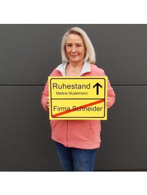 Ortsschild zum Ruhestand & zur Rente (personalisierbar)