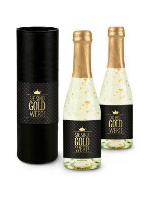 "Secco ""Gold wert"" 0,2 l-Flasche - individualisierbar"