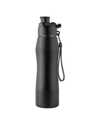 Wassertrinkflasche Refill schwarz mit Logodruck oder -gravur