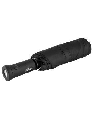 """Regenschirm """"Rain-LED-Pro"""" schwarz mit Logodruck auf dem Griff"""
