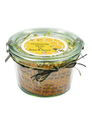 Bienengarten mit Saatgut im Weckglas mit Logoaufkleber