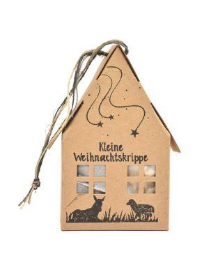 Kleine Weihnachtskrippe mit Stall und Filzfiguren - mit Logo