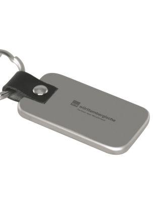 Schlüsselanhänger rechteckig mattsilber mit Logogravur