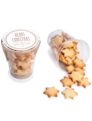 Butterkeks-Sterne im Klarsichtbecher mit eigenem Aufkleber