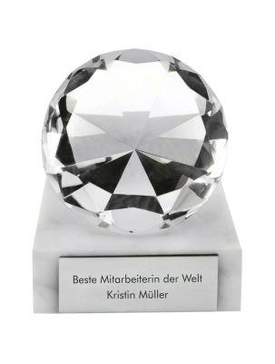 Glasdiamant auf edlem Marmorsockel als Mitarbeitergeschenk