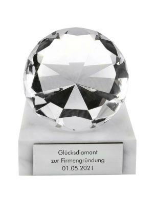 Glasdiamant auf Marmorsockel zur Firmengründung mit Gravur