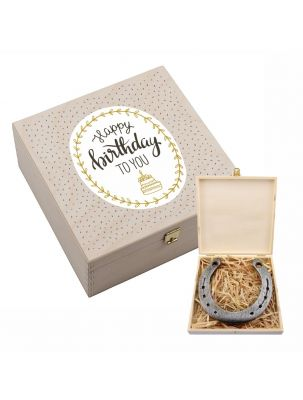 "Hufeisenbox ""Happy Birthday to you"" - mit Gravur"