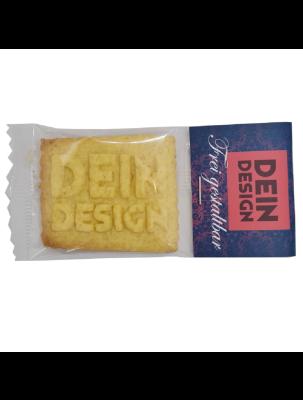 Logokeks im eigenen Design - einzeln verpackt mit Kartonreiter