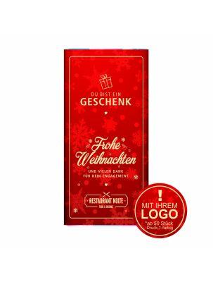 """Schokolade """"Du bist ein Geschenk"""" - mit Logo (rote Serie)"""