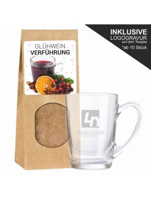 Glühwein-Verführung mit Teeglas inklusive Logogravur